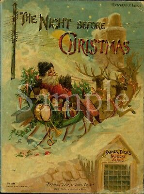 Primitive Santa Claus The Night Before Christmas Book Front Laser Print 8x10