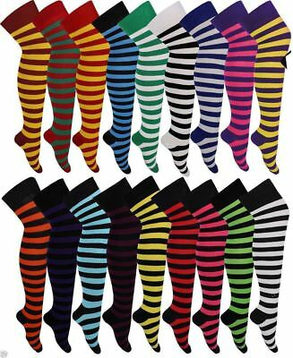 Women Over The Knee Stripe Socks Ladies Long High Thigh Stripe Socks Fancy Dress