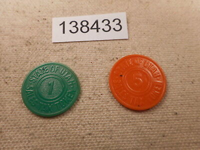 Two Plastic State ofr Utah Sales Tax Tokens Nice Collector Items - # 138433