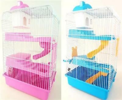 Petzone Small  Mouse, Gerbil Cage Blue Pink 3 Tiers 3 Storey Top Brand