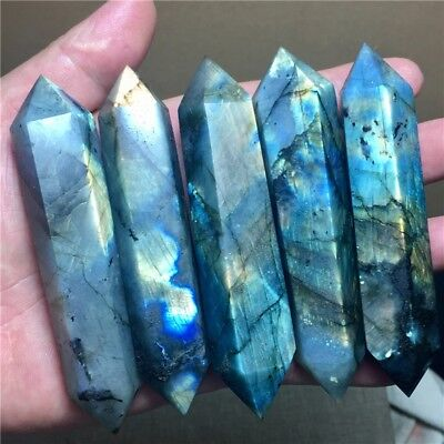 Wholesale Lots  Natural Beautiful Labradorite Wand Point Heal Quartz Crystal Hot