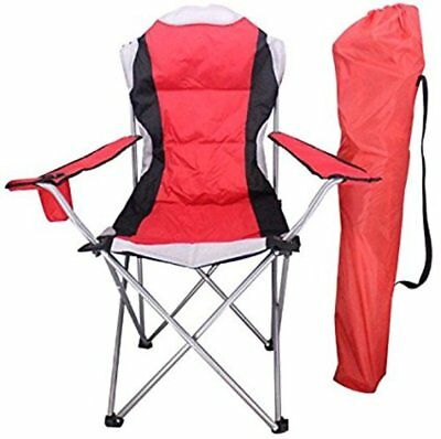 Luxury Heavy Duty Padded Folding High Back Camping Directors Chair Cup Holder