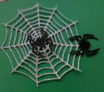 Sparkly Halloween Spiders Webs Glitter Card Crafts Embellishments Toppers