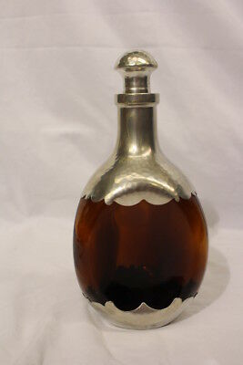 Vintage KMD Royal Holland Daalderop Amber Glass Pewter Decanter Bottle w/Stopper