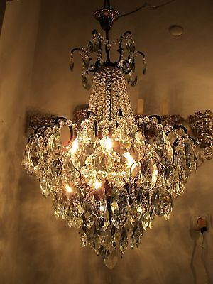 Antique Vnt French Big Spider Style Czech Crystal Chandelier 1940s 19in dmtr**-