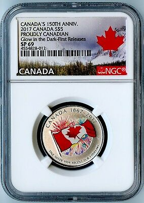 "2017 Canada Ngc First Releases Sp69 ""proudly Canadian"" Glow In The Dark S$5!"