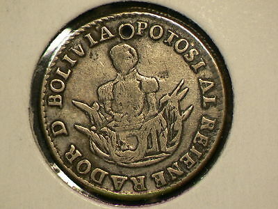 Bolivia Potosi 1840, Presidente AL Rejene Rador, Used as 1 Real, Holed  #G7324