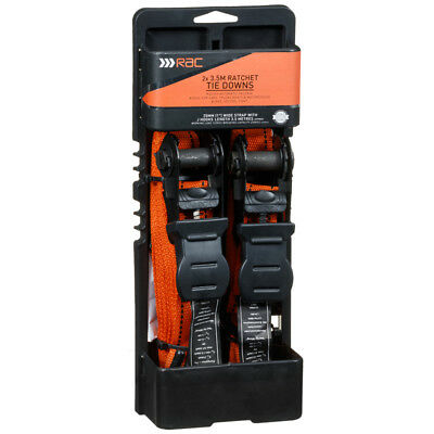 New Style RAC Ratchet Tie Downs Extremely Safe ideal for Cars etc - 3.5m - 2pk