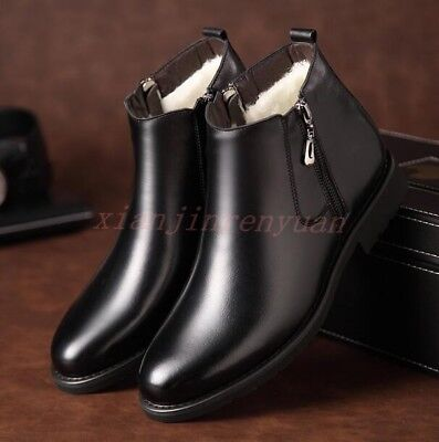 d2e9a37189f MENS HIGH TOP Fur Lined Winter Snow Boots Zip Leather Dress Shoes ...