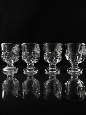 Cristal d'Arques Coquetier Shot Glass / Egg Cup, Chicken Stem, Set of (4)