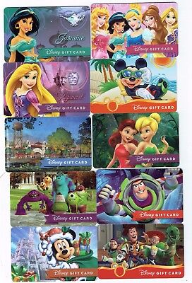 Collectible Disney Gift Cards MICKEY Princesses- LOT of 10 Diff - NO Cash Value