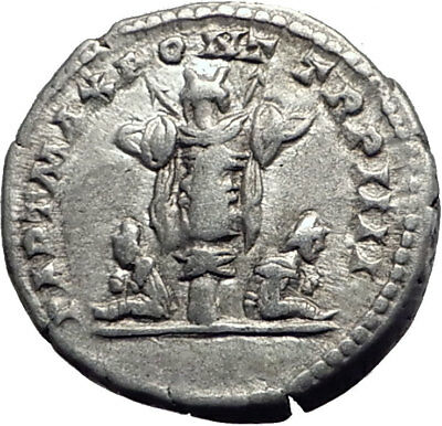 CARACALLA 201AD Rome Silver Authentic Ancient Roman Coin Trophy Tropaion  i63919