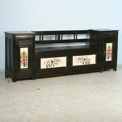 Antique Original Black Painted Bench with Additional Cabinet/Drawer Storage