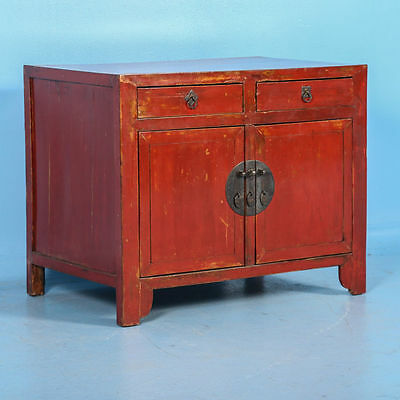 Small Antique 19th Century Red Lacquered Chinese Sideboard Cabinet