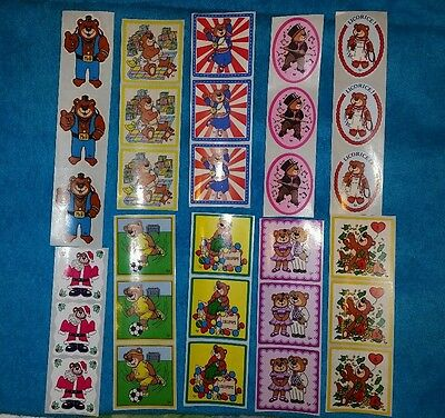 Lot of 10 Strips Vintage Stickers 1980s , AA Graphic BJ  Bear Stickers NOS