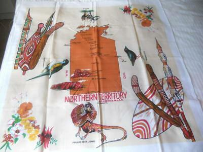 Vintage Retro Souvenir Table Cloth Northern Territory Map Aboriginal Weapons