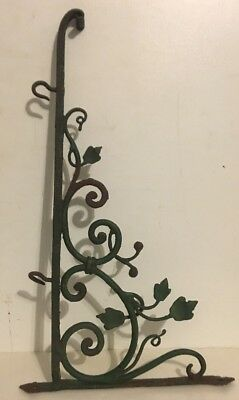 Fancy Vintage Wrought Iron Sign Bracket Holder Painted Green w/ Leaves - COOL !