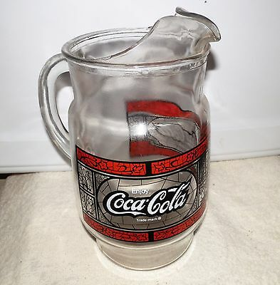 Vintage Coca Cola Pitcher Stained Glass Style Coke Mint Condition