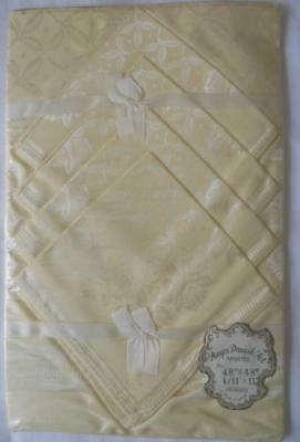 Mip Vintage 1950's Yellow Rayon Damask Table Cloth 4 Napkins Orchids 48 X 48 Ins