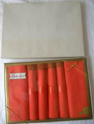 Boxed Vintage 1960's Coral Cotton Table Cloth 48 X 48 Inches 4 Napkins & Rings