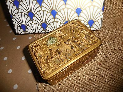 Heavy Embossed Colonial Village ANTIQUE Jewelry Trinket Box  Metal / Brass ?