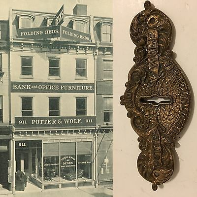 Antique Key Hole Cover POTTER AND WOLF DESKS BANK OFFICE FURNITURE PHILADELPHIA