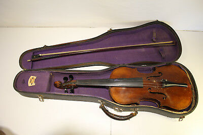 Antique Carl Vulzar 14in 1920's Viola Stradivarius Copy Mother of Pearl Bow NICE