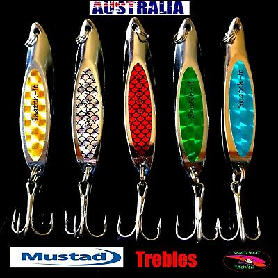 5 Fishing Lure Metal Slice Spoon Spinner Baits Tackle Mackeral Tailor Lures