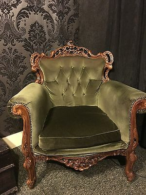 Antique Rococo Armchairs (pair) , Louis style, stunning ornate wood and velour.