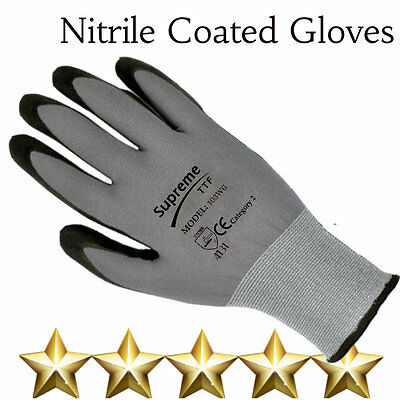 24 Pairs Nylon 100% Nitrile Coated Safety Work Gloves Builders Grip Gardening