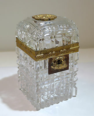 French Baccarat Cut Crystal Glass Ormolu Bronze Large Lock Box Late 19th Century
