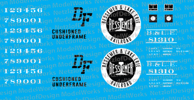 N Scale - Bessemer & Lake Erie 40' Box Car Decals (BLE)