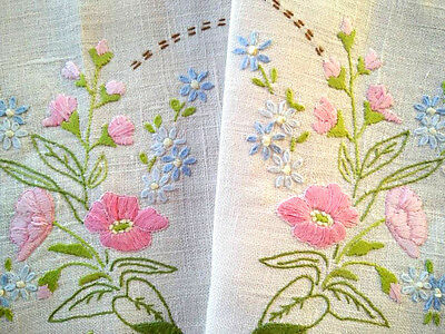 Beautiful Pink/Blue Flowers Vintage Hand embroidered Centrepiece