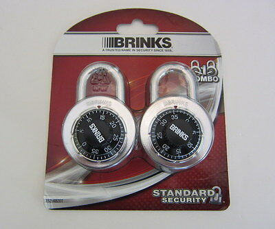Brinks 162-49201 Stainless Steel Dial Combination Padlock w/Black Dial, 2-Pack