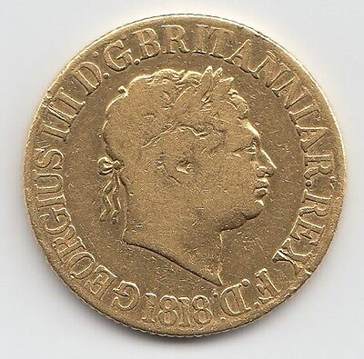 Rare 1818 George III Gold Sovereign - Great Britain.