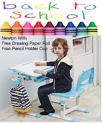 Children's Height Adjustable Ergonomic Study Desk & Chair WITH PAPER ROLL HOLDER