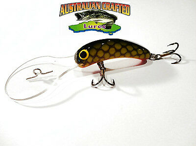 Australian Crafted Lures- 50mm slim invader green carp col;46, 30ft a.c.lures