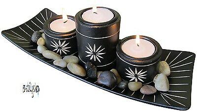 Essence Bamboo Tea Light holder Set, Tray, Pebbles, Tea lights and holders