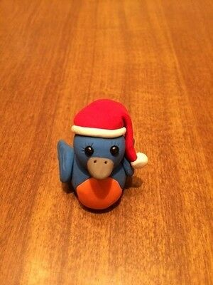 New Adorable Blue Bird Wearing Santa Hat Figurine - OOAK - Handmade