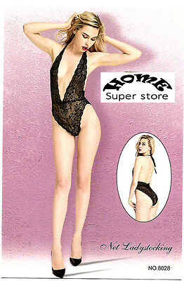 Sexy Lingerie Bodystocking Body Con Pizzo Nero E Oro Intimo Donna NO.8028