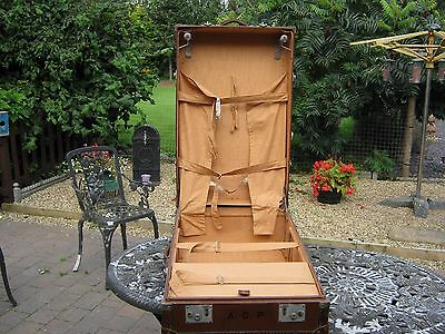 Antique Vintage Steamer Trunk Travelling Wardrobe Leather in good condition