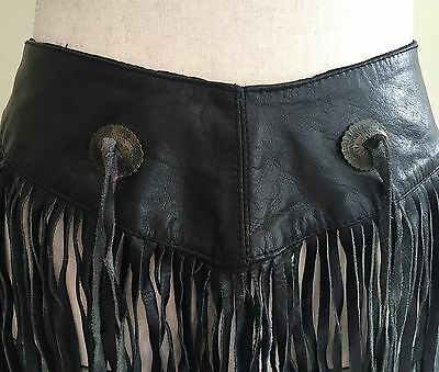 Vintage Black Fringe Belt Leather 80s Rock and Roll Biker Street Style