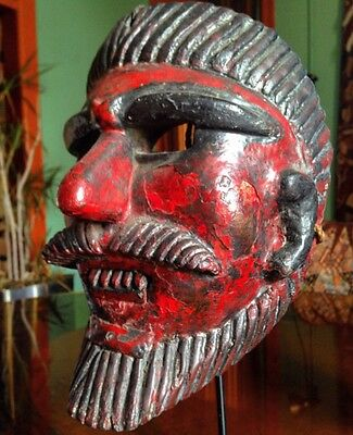 Rare Antique Guatemalan Or Mexican Dance Mask With Heavy Patina On Custom Stand
