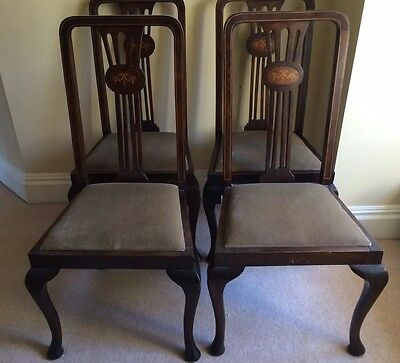 Antique Edwardian High Back Chairs with Cabriole Legs