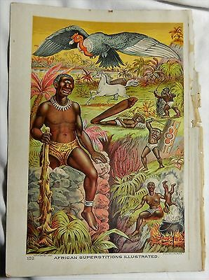 African Superstitions Illustrated Color Lithograph From 1889 Book