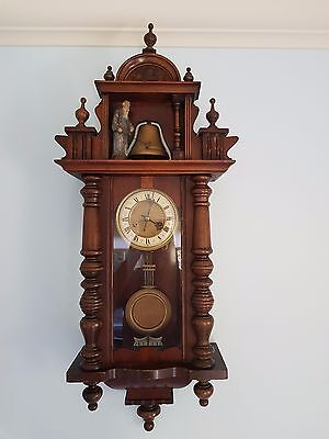 Antique two train Vienna regulator with automated figure of father time