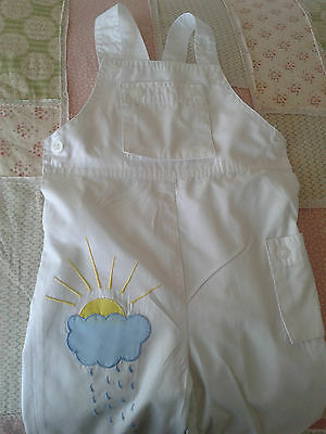 Vintage Baby 1980s White Embrioderd  Dungarees Sunshine & Raindrops 12-18 M