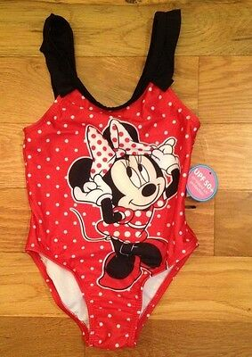 NWT Disney MINNIE MOUSE Red POLKA DOT 1 Pc SwimSuit UPF 50+ Girls 2T