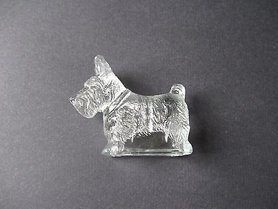 """Vintage Glass Scottie Candy Container 4"""" - 1940's by TH Stough Co."""