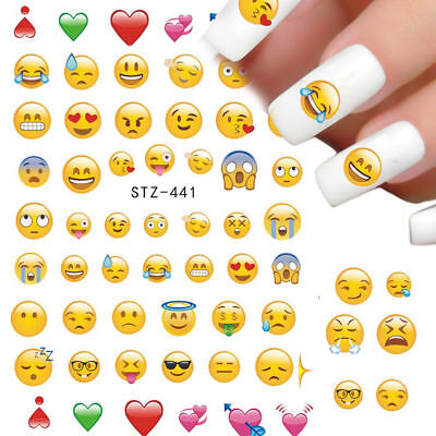 ❤️nouveau Stickers (60) Emoji Smile Bijoux Ongles Water Decals Manucure Nail Art